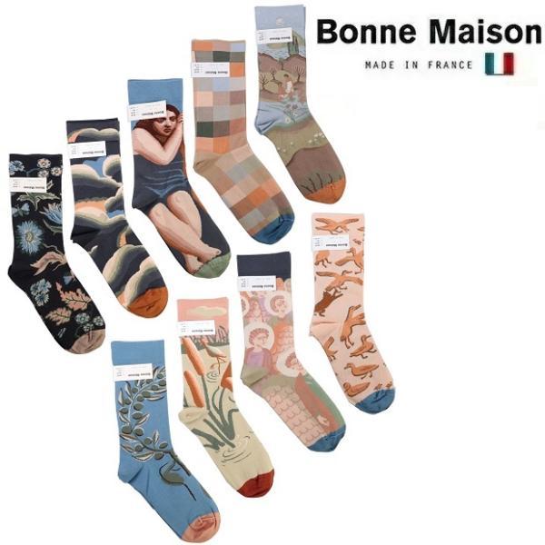 BonneMaisonボンヌメゾンコットンソックス2021SSレディースメンズ靴下フランス総柄NO