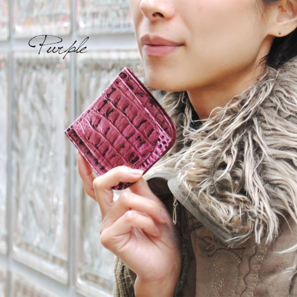 二つ折り財布 レディース レディス ブランド カーフスキン クロコ型押し×本革ナッパレザー イタリア Antonini ロンバータ brand|carron|02