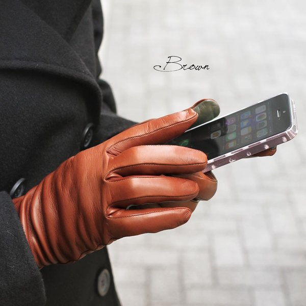 革手袋 レディース レディス スマホ スマートフォン対応 カシミヤライニング イタリア製 お洒落 本革 レザーグローブ シンプル carron 02