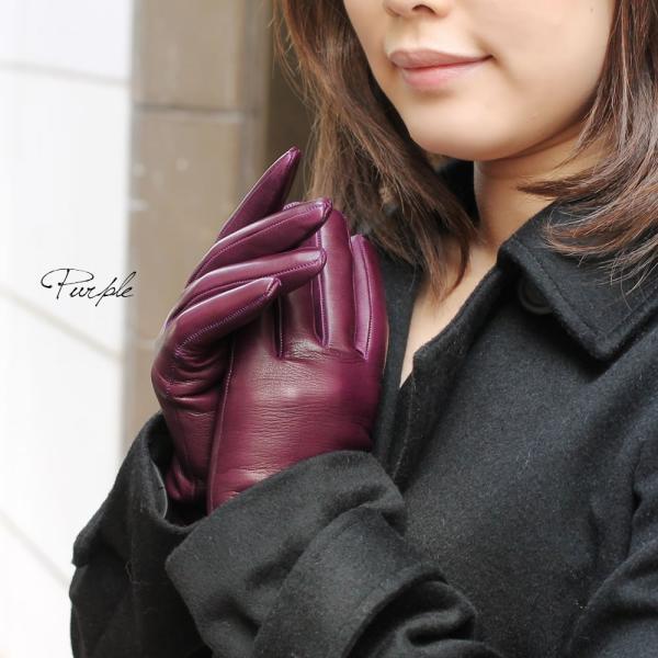 手袋 シンプル レディース レディス 暖かい カシミヤライニング イタリア製 本革 ナッパレザー グローブ carron 02
