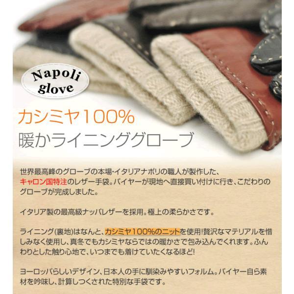 手袋 シンプル レディース レディス 暖かい カシミヤライニング イタリア製 本革 ナッパレザー グローブ carron 08