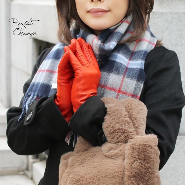 手袋 シンプル レディース レディス 暖かい カシミヤライニング イタリア製 本革 ナッパレザー グローブ carron 04