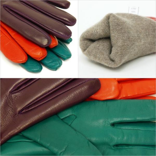 手袋 シンプル レディース レディス 暖かい カシミヤライニング イタリア製 本革 ナッパレザー グローブ carron 06