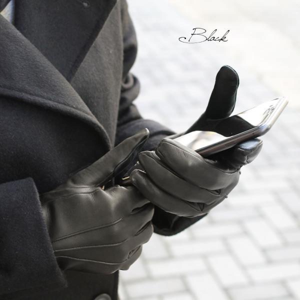 スマホ手袋 メンズ Men's 革手袋 スマートフォン対応 カシミヤライニング イタリア製 お洒落 本革 レザーグローブ シンプル|carron|03
