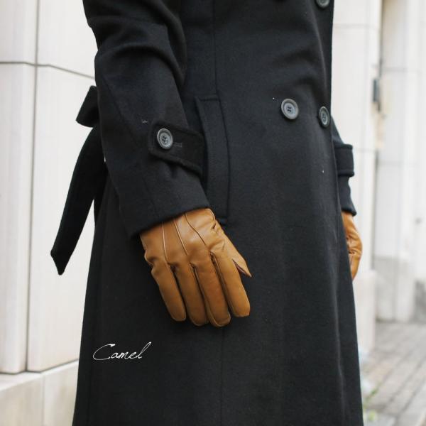 スマホ手袋 メンズ Men's 革手袋 スマートフォン対応 カシミヤライニング イタリア製 お洒落 本革 レザーグローブ シンプル|carron|04