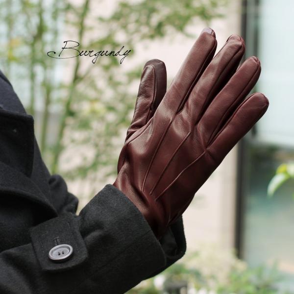 スマホ手袋 メンズ Men's 革手袋 スマートフォン対応 カシミヤライニング イタリア製 お洒落 本革 レザーグローブ シンプル|carron|05
