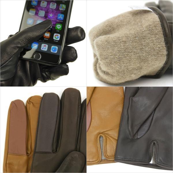 スマホ手袋 メンズ Men's 革手袋 スマートフォン対応 カシミヤライニング イタリア製 お洒落 本革 レザーグローブ シンプル|carron|07