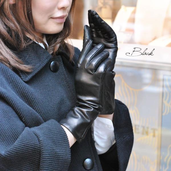 手袋 レディース レディス 暖かい カシミヤライニング イタリア製 本革 ナッパレザー グローブ シンプル セミロング ミドルレングス|carron|02