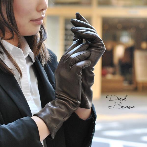 手袋 レディース レディス 暖かい カシミヤライニング イタリア製 本革 ナッパレザー グローブ シンプル セミロング ミドルレングス|carron|03
