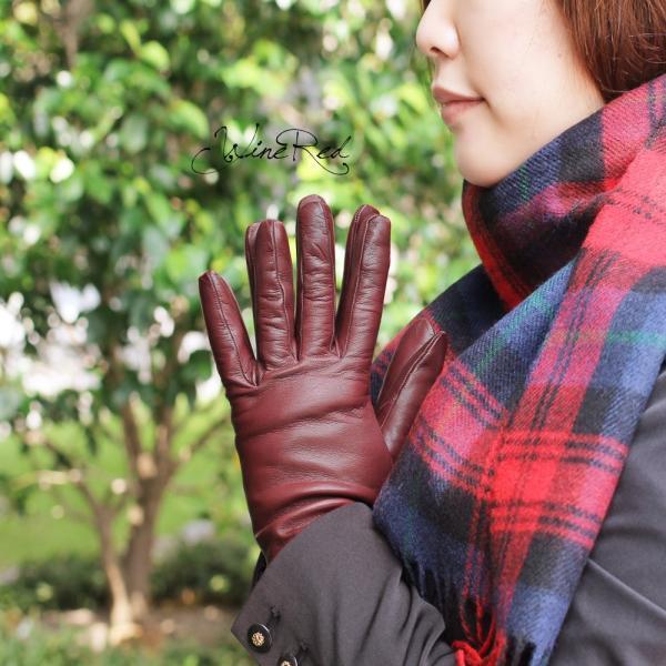 手袋 レディース レディス 暖かい カシミヤライニング イタリア製 本革 ナッパレザー グローブ シンプル セミロング ミドルレングス|carron|04