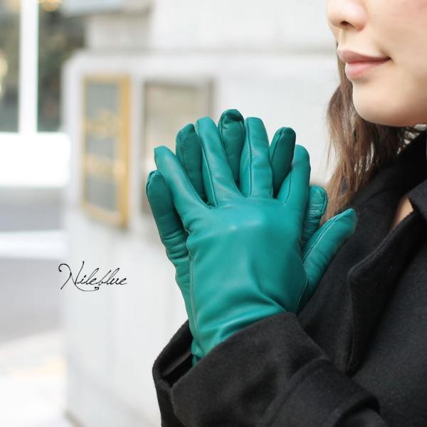 手袋 レディース レディス 暖かい カシミヤライニング イタリア製 本革 ナッパレザー グローブ シンプル セミロング ミドルレングス|carron|05