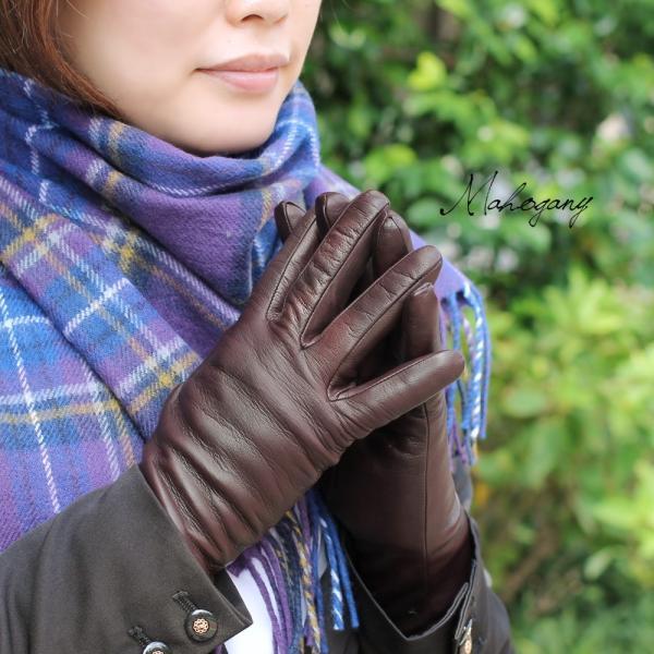 手袋 レディース レディス 暖かい カシミヤライニング イタリア製 本革 ナッパレザー グローブ シンプル セミロング ミドルレングス|carron|06