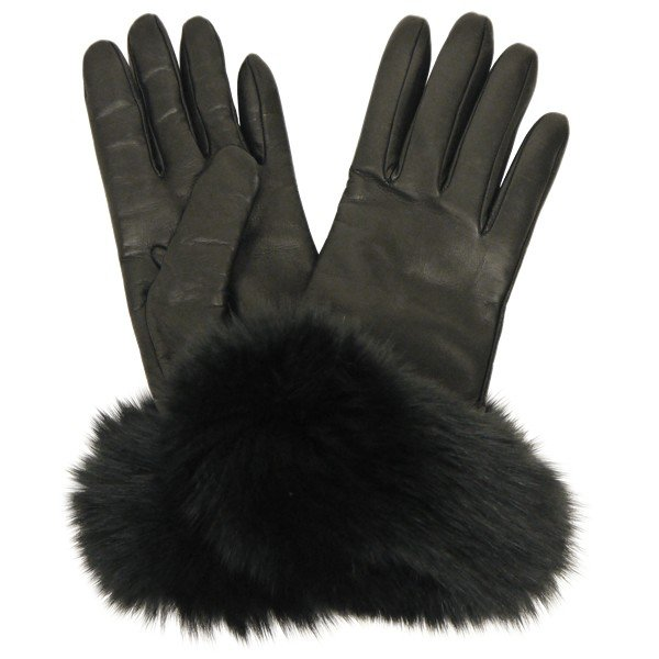手袋 レディース ブランド 本革 カシミヤライニング 暖かい おしゃれ ファーカフ ブルーフォックス イタリア製 カフグローブ レディス brand|carron