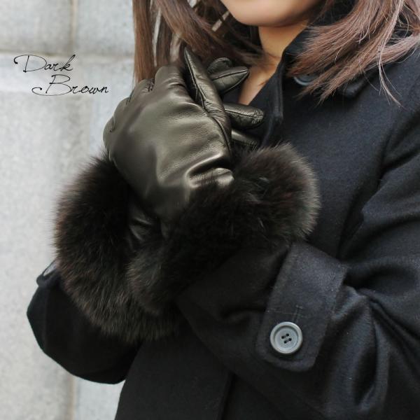 手袋 レディース ブランド 本革 カシミヤライニング 暖かい おしゃれ ファーカフ ブルーフォックス イタリア製 カフグローブ レディス brand|carron|02