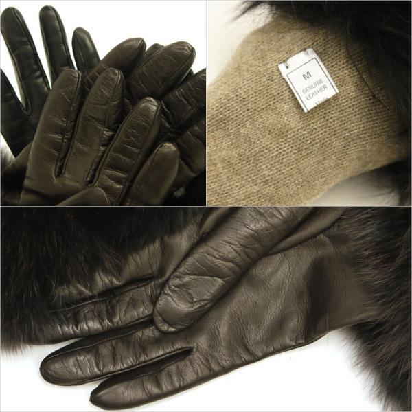 手袋 レディース ブランド 本革 カシミヤライニング 暖かい おしゃれ ファーカフ ブルーフォックス イタリア製 カフグローブ レディス brand|carron|04