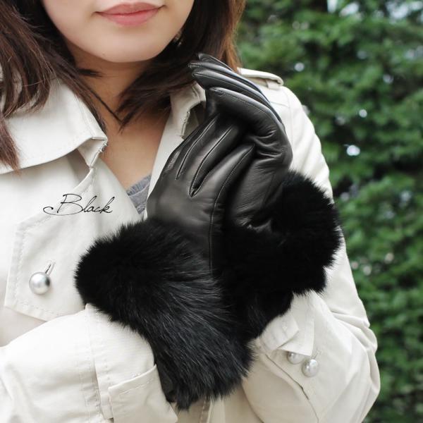 手袋 レディース ブランド 本革 カシミヤライニング 暖かい おしゃれ ファーカフ ブルーフォックス イタリア製 カフグローブ レディス brand|carron|05