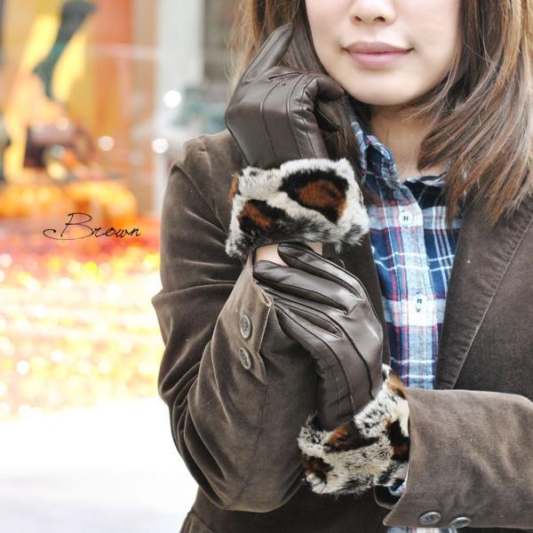 手袋 レディース ブランド 暖かい 本革レザー カシミヤライニング イタリア製 ラビットファーカフグローブ レディス brand|carron|02