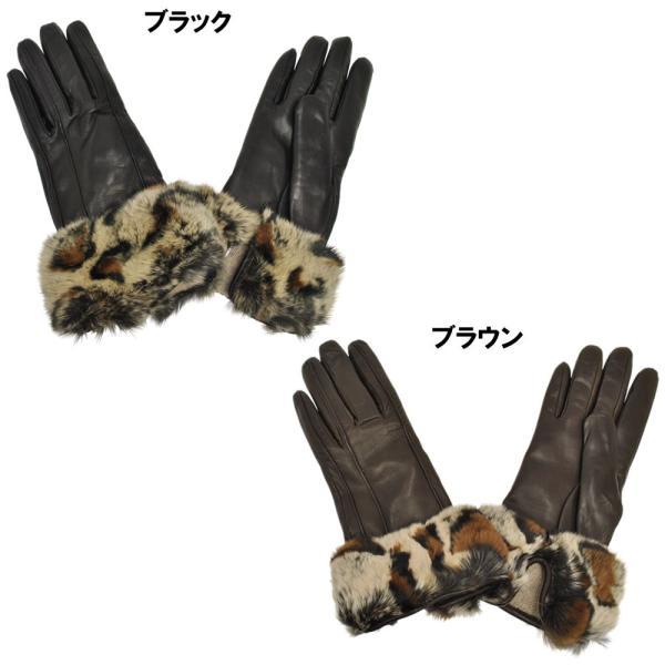 手袋 レディース ブランド 暖かい 本革レザー カシミヤライニング イタリア製 ラビットファーカフグローブ レディス brand|carron|03