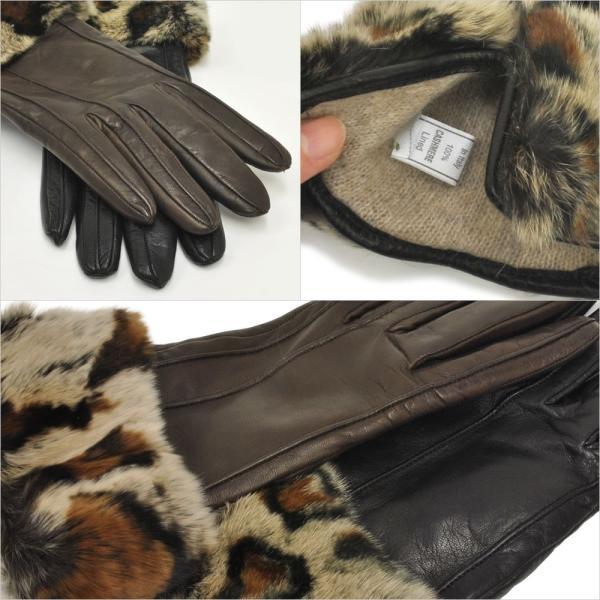 手袋 レディース ブランド 暖かい 本革レザー カシミヤライニング イタリア製 ラビットファーカフグローブ レディス brand|carron|04