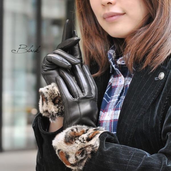 手袋 レディース ブランド 暖かい 本革レザー カシミヤライニング イタリア製 ラビットファーカフグローブ レディス brand|carron|06