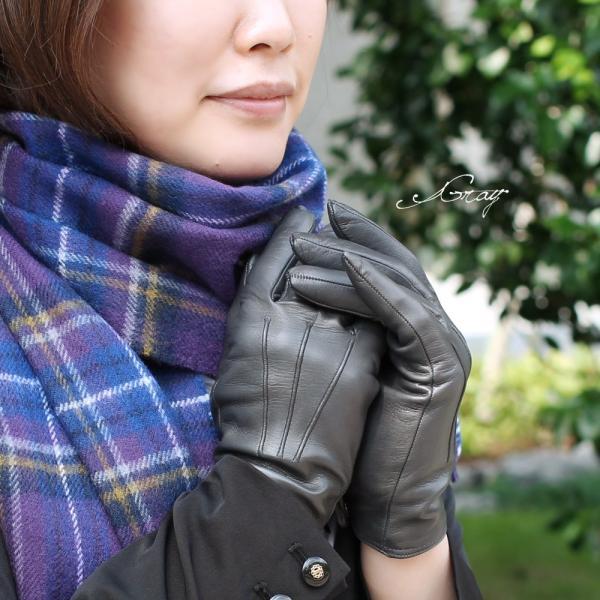革手袋 レディース ブランド 本革 カシミヤライニング イタリア製 レザーグローブ 暖かい シンプル レディス brand carron 07
