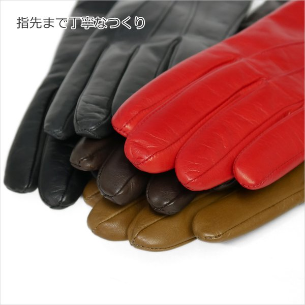 革手袋 レディース ブランド 本革 カシミヤライニング イタリア製 レザーグローブ 暖かい シンプル レディス brand carron 09
