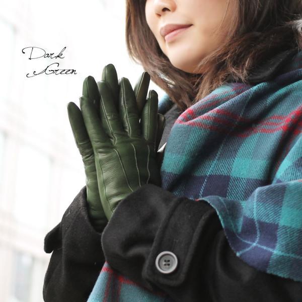 手袋 スマホ対応 本革 レディース 冬 ブランド 暖かい 指先 カシミヤライニング イタリア製 レザーグローブ シンプル スナップボタン レディス brand carron 02