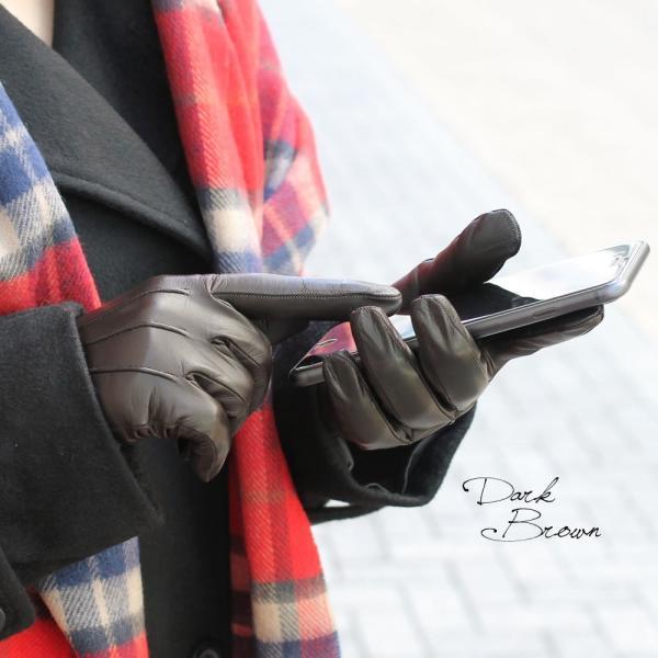 手袋 スマホ対応 本革 レディース 冬 ブランド 暖かい 指先 カシミヤライニング イタリア製 レザーグローブ シンプル スナップボタン レディス brand carron 04