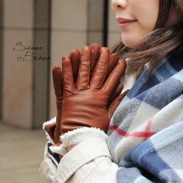 革手袋 レディース レディス カシミヤライニング ボア カフ イタリア製 本革 レザーグローブ|carron|03