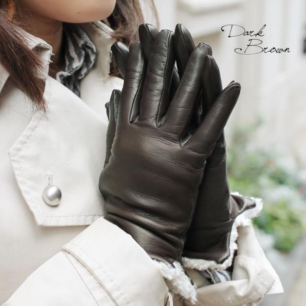 革手袋 レディース レディス カシミヤライニング ボア カフ イタリア製 本革 レザーグローブ|carron|04