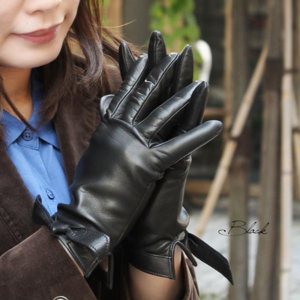 革手袋 レディース レディス カシミヤライニング リボン イタリア製 本革 レザーグローブ|carron|02