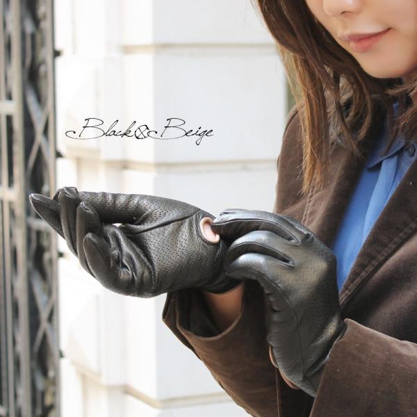 革手袋 レディース レディス レザーグローブ カシミヤライニング イタリア製 本革|carron|02
