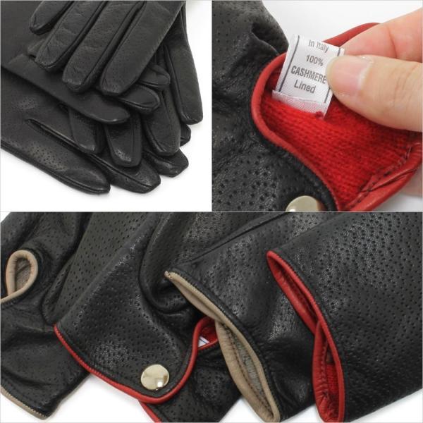 革手袋 レディース レディス レザーグローブ カシミヤライニング イタリア製 本革|carron|04