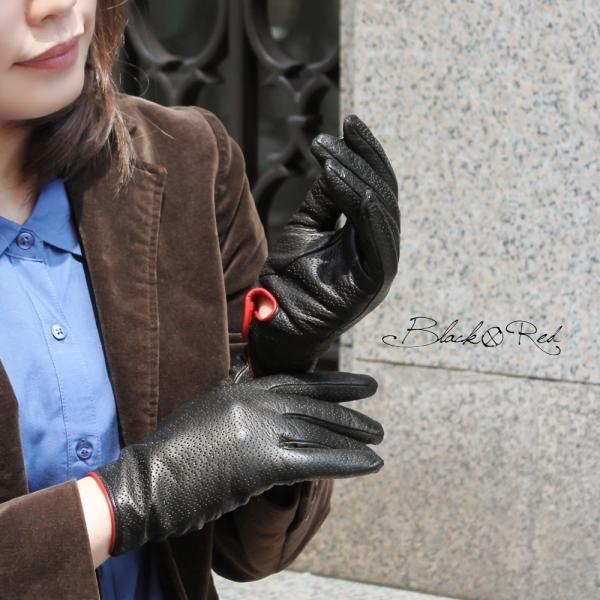 革手袋 レディース レディス レザーグローブ カシミヤライニング イタリア製 本革|carron|06