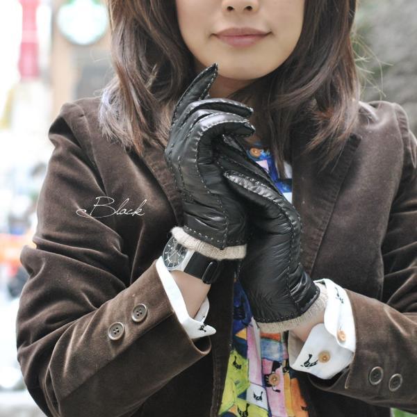 革手袋 レディース レディス カシミヤライニング ハンドステッチ イタリア製 本革レザー ニットカフグローブ|carron|06