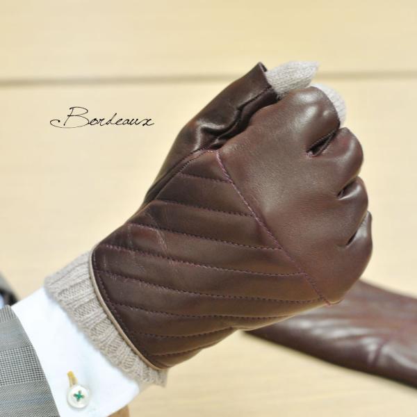 革手袋 メンズ Men's 半指 ハーフフィンガー ウールライニング イタリア製 本革レザー|carron|02