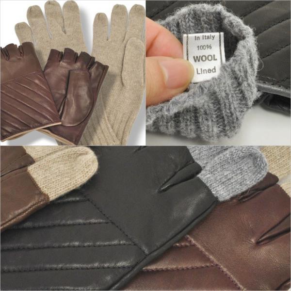 革手袋 メンズ Men's 半指 ハーフフィンガー ウールライニング イタリア製 本革レザー|carron|04