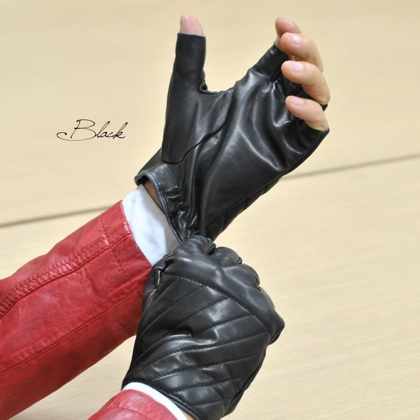 革手袋 メンズ Men's 半指 ハーフフィンガー ウールライニング イタリア製 本革レザー|carron|05