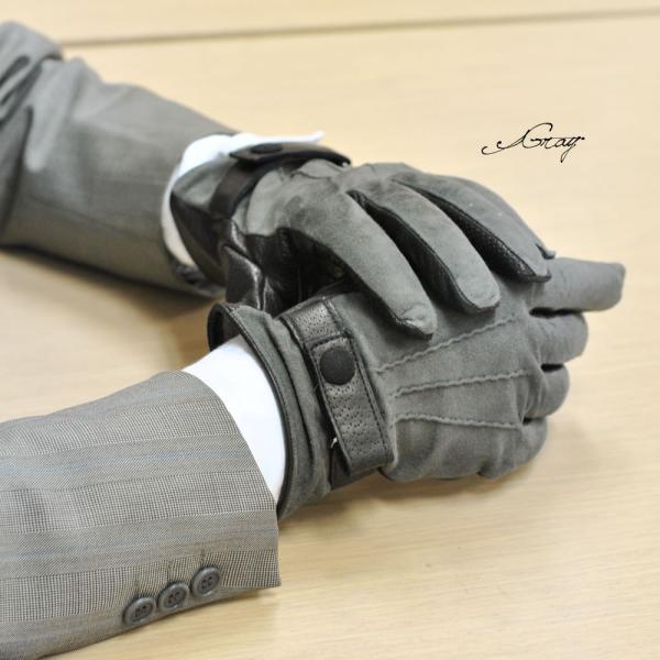 革手袋 メンズ Men's カシミヤライニング イタリア製 本革 スエードレザーグローブ パンチング ベルト付 carron 02