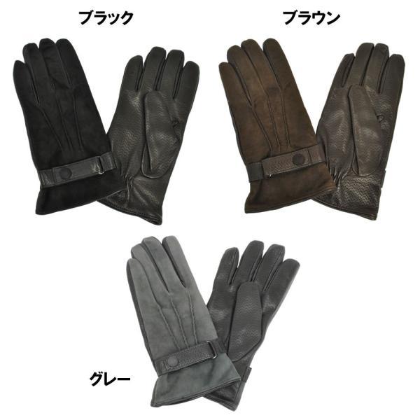 革手袋 メンズ Men's カシミヤライニング イタリア製 本革 スエードレザーグローブ パンチング ベルト付 carron 03