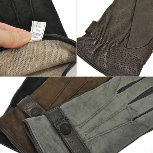 革手袋 メンズ Men's カシミヤライニング イタリア製 本革 スエードレザーグローブ パンチング ベルト付 carron 04