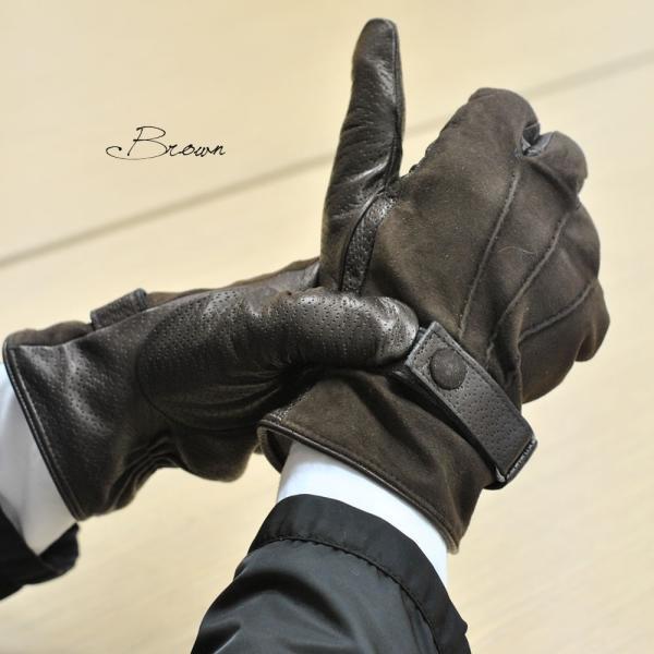 革手袋 メンズ Men's カシミヤライニング イタリア製 本革 スエードレザーグローブ パンチング ベルト付 carron 06