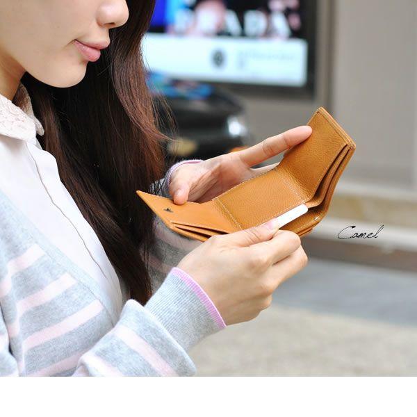 コンパクト 三つ折り財布 レディース レディス ベジタブルレザー 全3色 carron 06