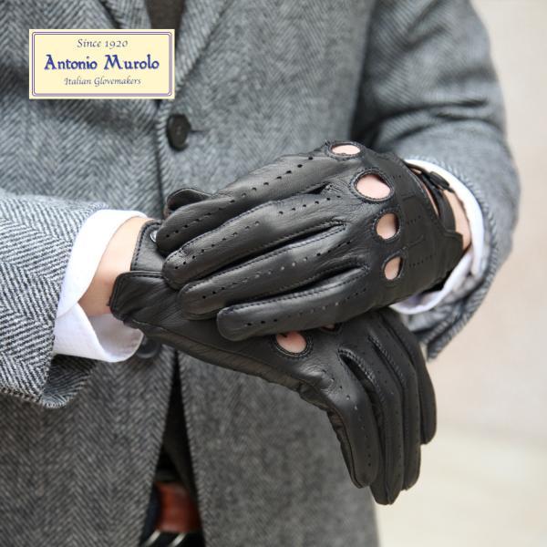 ドライビンググローブ 手袋 メンズ Men's 五本指 防寒 本革 皮 あったか 暖かい レザー イタリア 紳士用 AntonioMurolo|carron|02