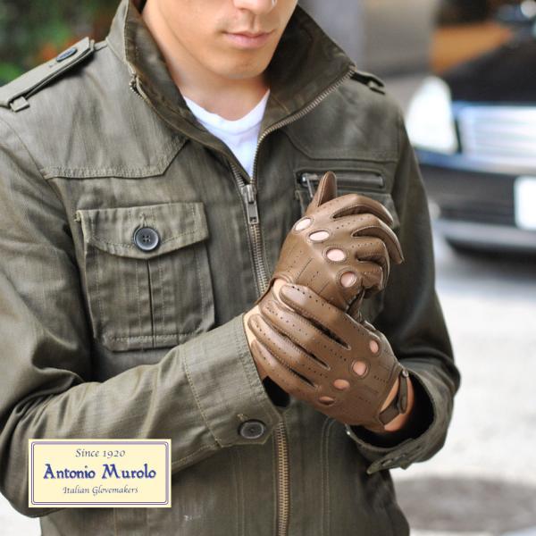 ドライビンググローブ 手袋 メンズ Men's 五本指 防寒 本革 皮 あったか 暖かい レザー イタリア 紳士用 AntonioMurolo|carron|03