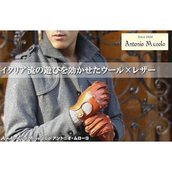 メンズ Men's ドライビンググローブ 革手袋 紳士用 本革 ナッパレザー ウール コンビ イタリア製 AntonioMurolo|carron|05