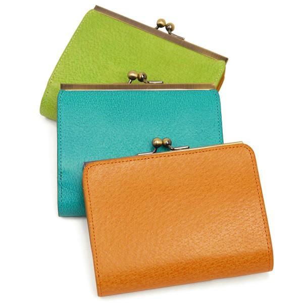 二つ折り財布 レディース がま口小銭入れ 革財布 アメ豚 カラフルレザー 本革 財布 ブランド|carron