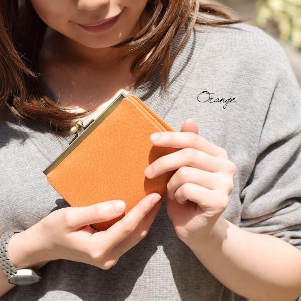 二つ折り財布 レディース がま口小銭入れ 革財布 アメ豚 カラフルレザー 本革 財布 ブランド|carron|02