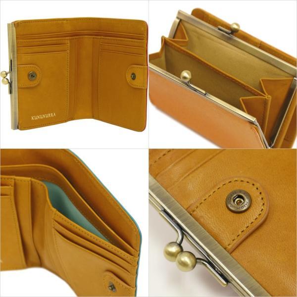 二つ折り財布 レディース がま口小銭入れ 革財布 アメ豚 カラフルレザー 本革 財布 ブランド|carron|04