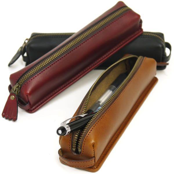 デスクペンケース おしゃれ 革 筆箱 無地 シンプル 卓上 国産 ビゾンテレザー 10本用 全3色|carron